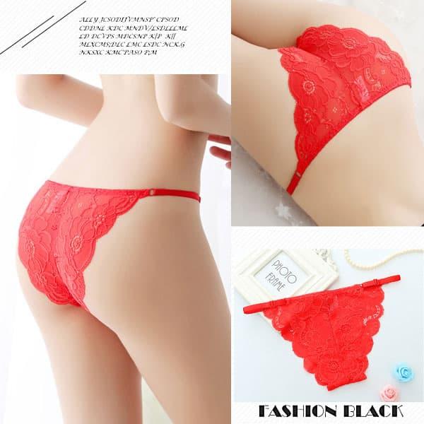 セクシー下着の通販商品:アジャスタブル・レースのフルバックショーツ・赤・イメージ写真2