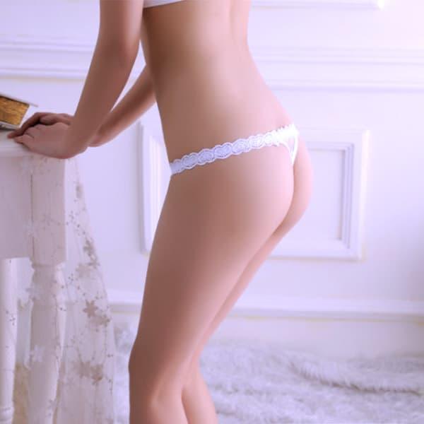 セクシー下着の通販商品:ハートストリング・ローライズTバック・白・イメージ写真4