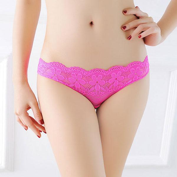 セクシー下着の通販商品:えっ!後ろがぱっくり・レースのフルバックショーツ・蛍光ピンク・イメージ写真1