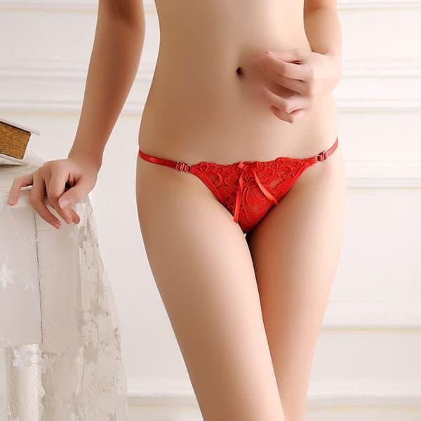 セクシー下着の通販商品:アジャスタブル・ローライズ・シースルーレース・Tバック・赤・イメージ写真1