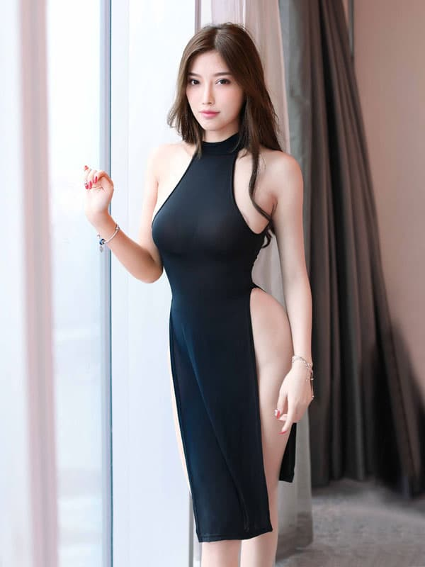 セクシー下着の通販商品:チャイナ風ロングスリット・セクシードレス・黒・イメージ写真2