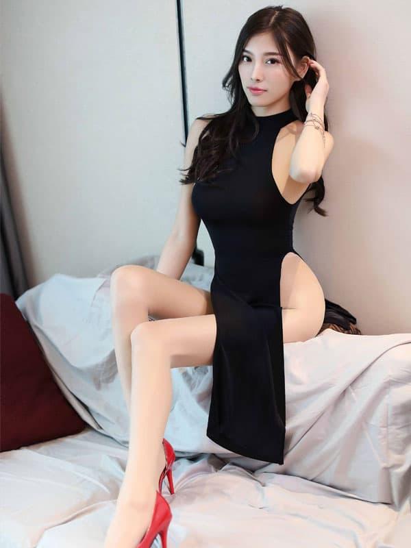セクシー下着の通販商品:チャイナ風ロングスリット・セクシードレス・黒・イメージ写真3