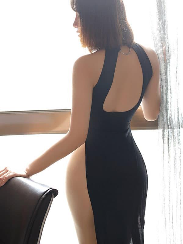 セクシー下着の通販商品:チャイナ風ロングスリット・セクシードレス・黒・イメージ写真5