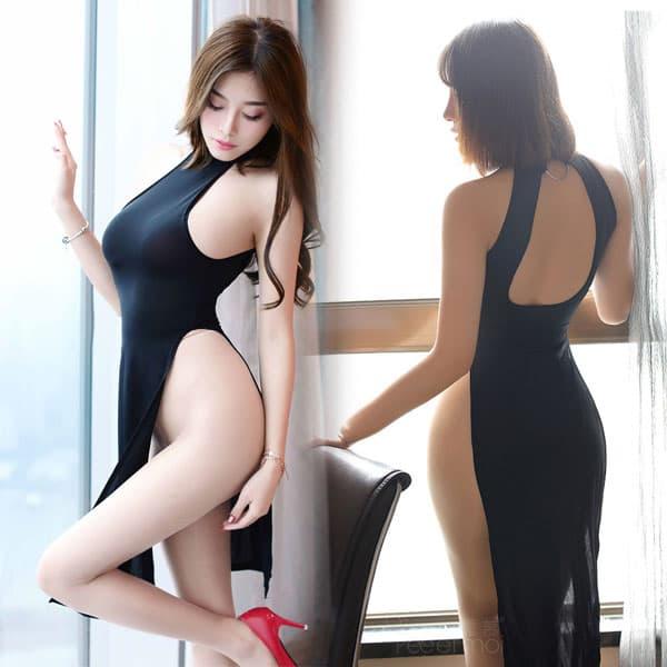 チャイナ風ロングスリット・セクシードレス・黒