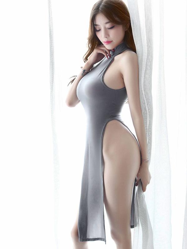 セクシー下着の通販商品:チャイナ風ロングスリット・セクシードレス・グレー・イメージ写真1