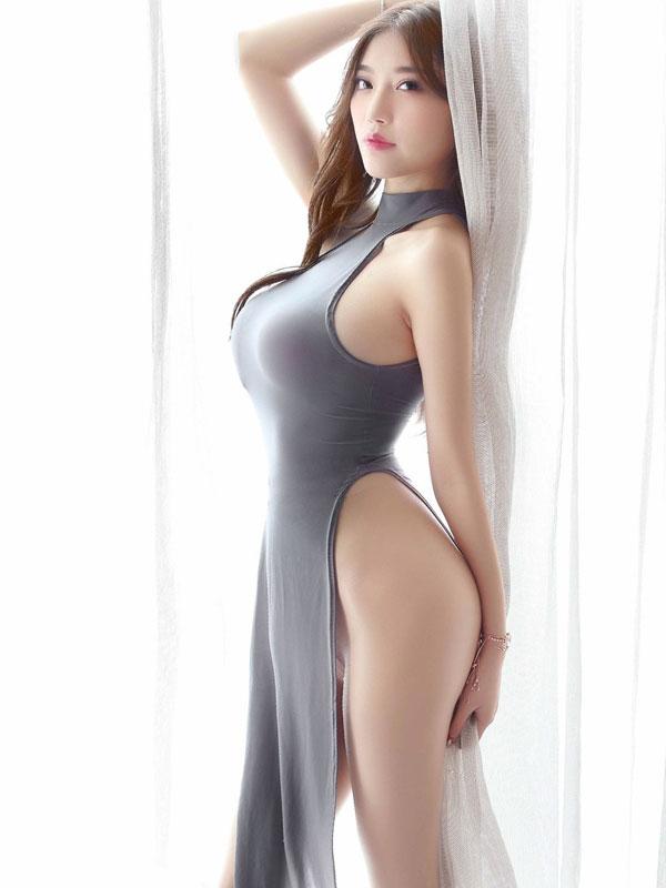 セクシー下着の通販商品:チャイナ風ロングスリット・セクシードレス・グレー・イメージ写真2