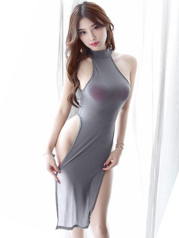セクシー下着の通販商品:チャイナ風ロングスリット・セクシードレス・グレー・イメージ写真3