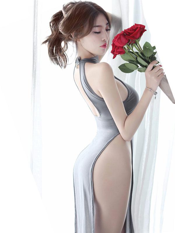 セクシー下着の通販商品:チャイナ風ロングスリット・セクシードレス・グレー・イメージ写真4