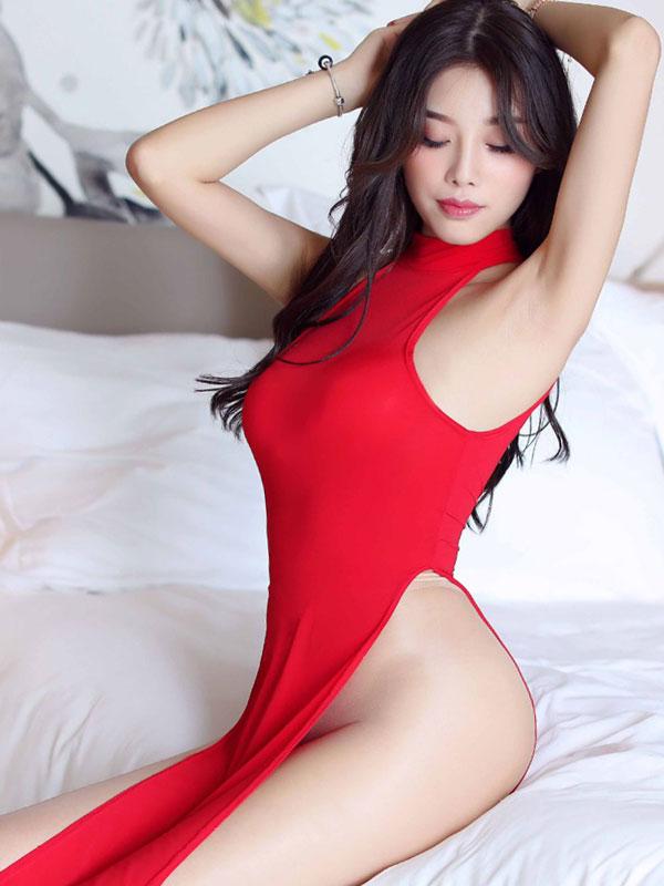 セクシー下着の通販商品:チャイナ風ロングスリット・セクシードレス・赤・イメージ写真3