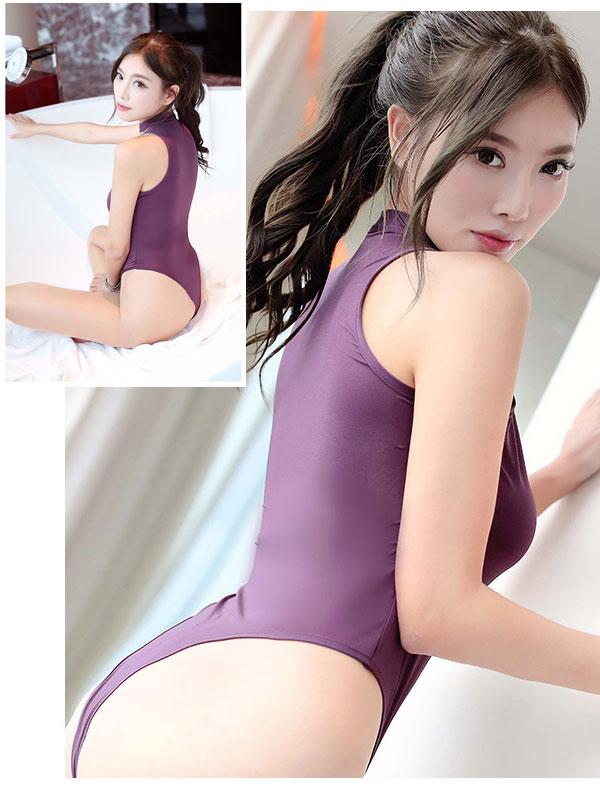 セクシー下着の通販商品:あいちゃう!オープン・Vカット・レオタード・紫・イメージ写真4