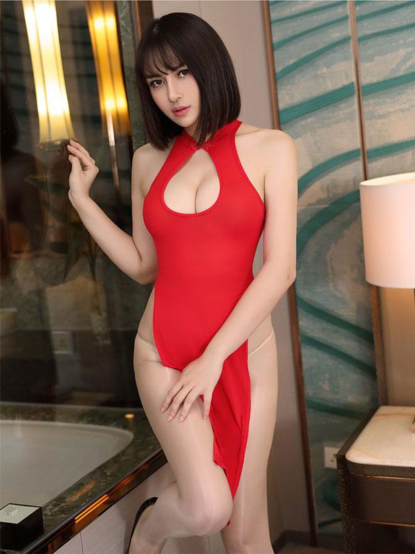 セクシー下着の通販商品:チャイナ風ロングスリット・胸ちらセクシードレス・赤・イメージ写真1