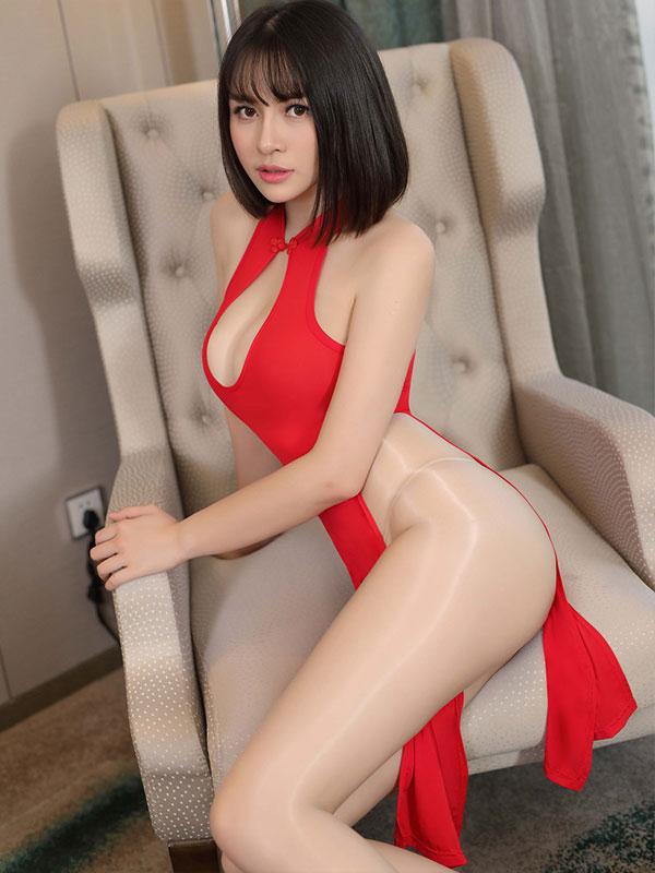 セクシー下着の通販商品:チャイナ風ロングスリット・胸ちらセクシードレス・赤・イメージ写真2