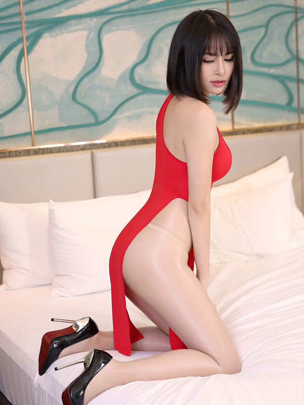 セクシー下着の通販商品:チャイナ風ロングスリット・胸ちらセクシードレス・赤・イメージ写真3