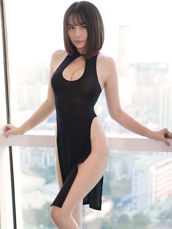 セクシー下着の通販商品:チャイナ風ロングスリット・胸ちらセクシードレス・黒・イメージ写真1