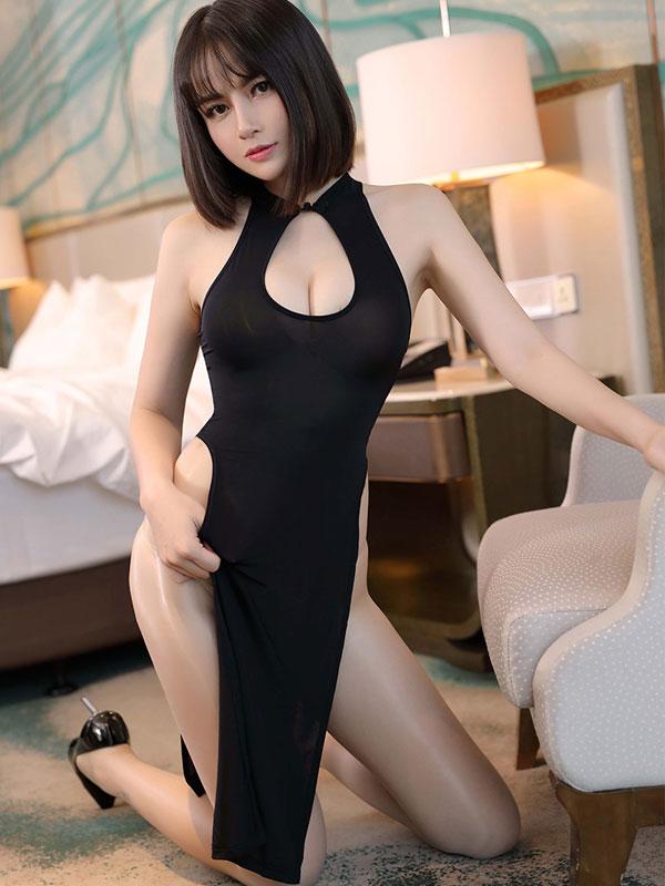 セクシー下着の通販商品:チャイナ風ロングスリット・胸ちらセクシードレス・黒・イメージ写真2