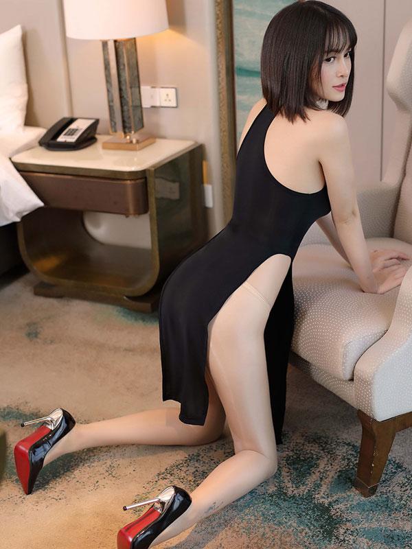 セクシー下着の通販商品:チャイナ風ロングスリット・胸ちらセクシードレス・黒・イメージ写真4