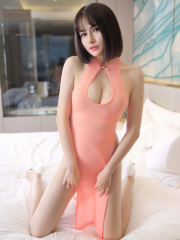 セクシー下着の通販商品:チャイナ風ロングスリット・胸ちらセクシードレス・サーモンピンク・イメージ写真1