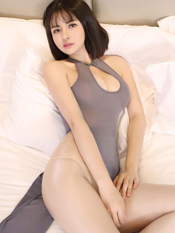 セクシー下着の通販商品:チャイナ風ロングスリット・胸ちらセクシードレス・グレー・イメージ写真2