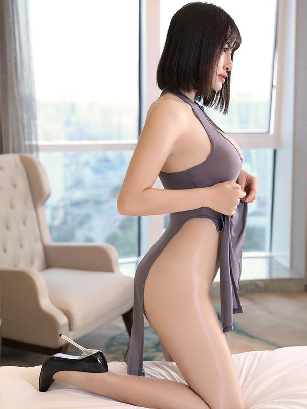 セクシー下着の通販商品:チャイナ風ロングスリット・胸ちらセクシードレス・グレー・イメージ写真3