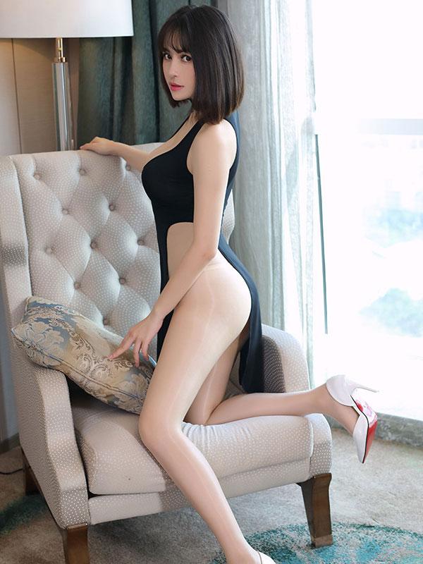 セクシー下着の通販商品:チャイナ風ロングスリット・Vカットセクシードレス・黒・イメージ写真2