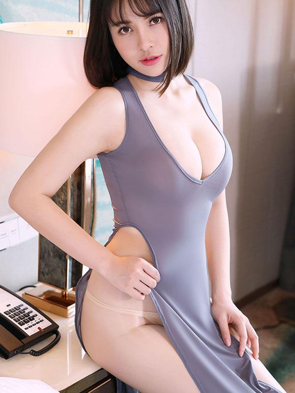 セクシー下着の通販商品:チャイナ風ロングスリット・Vカットセクシードレス・グレー・イメージ写真1