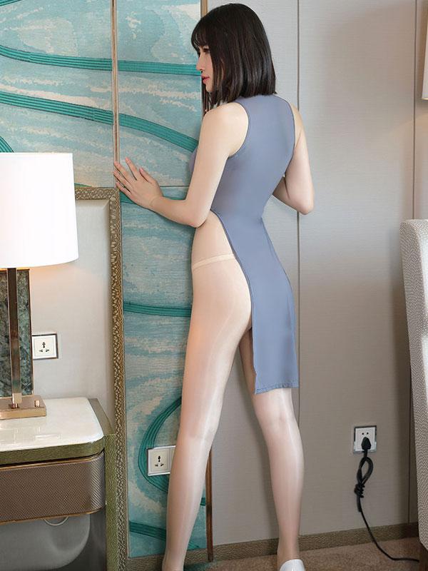 セクシー下着の通販商品:チャイナ風ロングスリット・Vカットセクシードレス・グレー・イメージ写真3