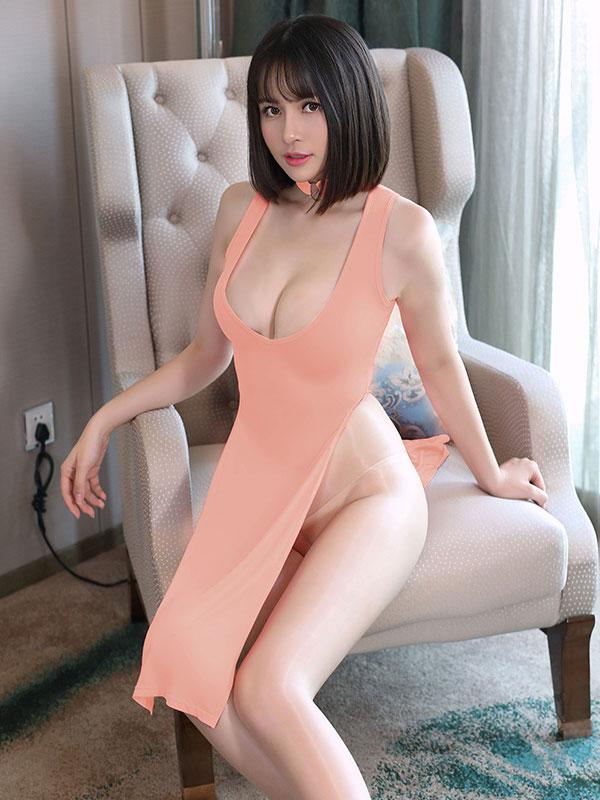 セクシー下着の通販商品:チャイナ風ロングスリット・Vカットセクシードレス・サーモンピンク・イメージ写真1