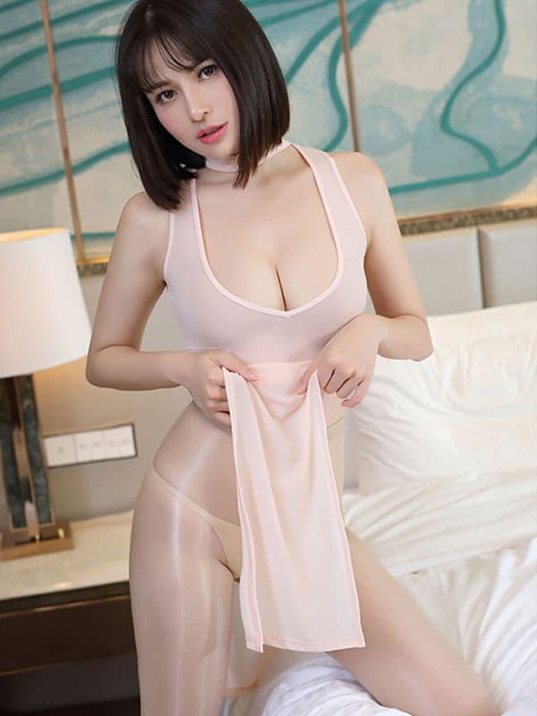 セクシー下着の通販商品:チャイナ風ロングスリット・Vカットセクシードレス・アプリコット・イメージ写真1