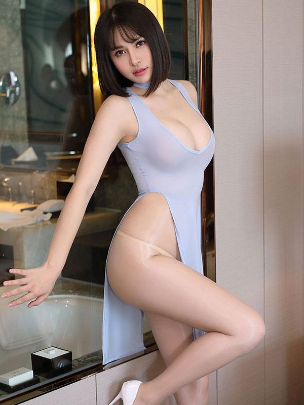 セクシー下着の通販商品:チャイナ風ロングスリット・Vカットセクシードレス・ブルーグレー・イメージ写真1