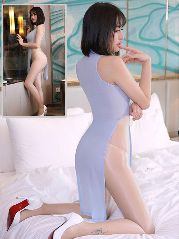 セクシー下着の通販商品:チャイナ風ロングスリット・Vカットセクシードレス・ブルーグレー・イメージ写真3