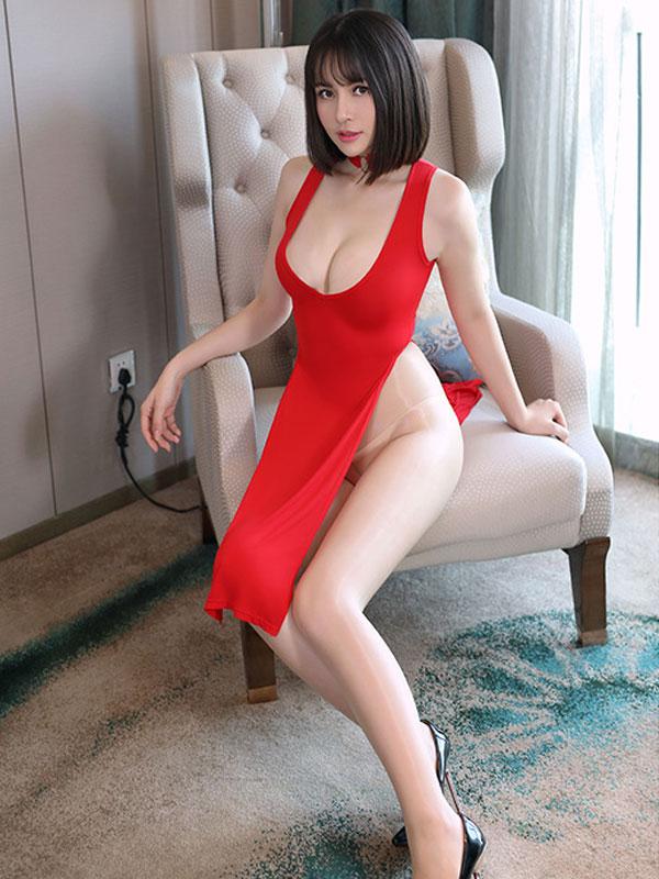 セクシー下着の通販商品:チャイナ風ロングスリット・Vカットセクシードレス・赤・イメージ写真1
