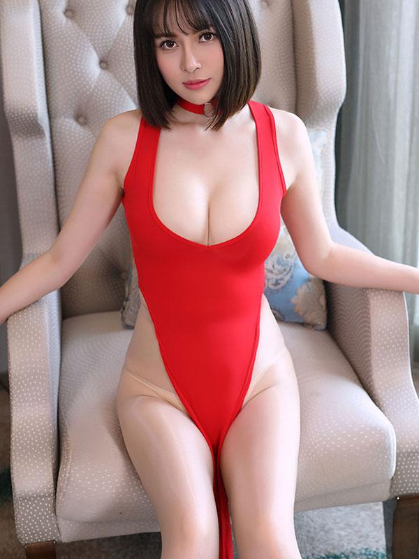 セクシー下着の通販商品:チャイナ風ロングスリット・Vカットセクシードレス・赤・イメージ写真2