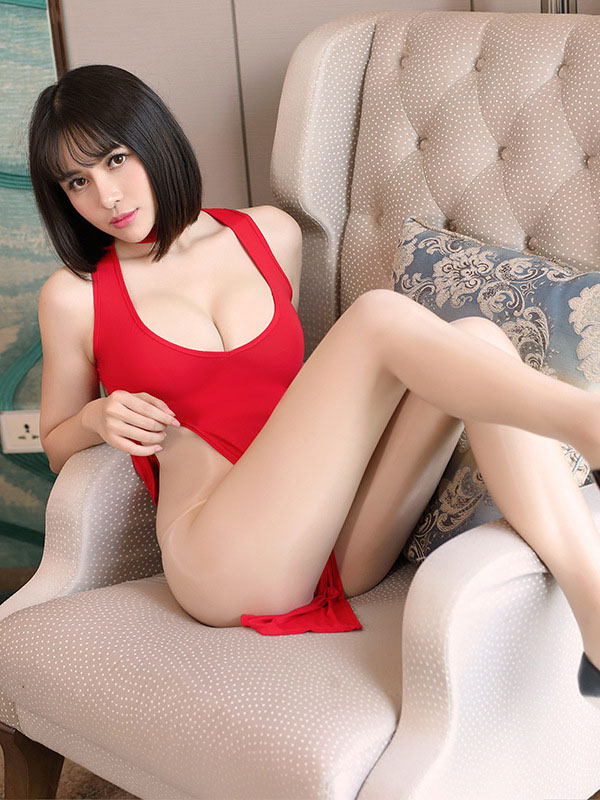 セクシー下着の通販商品:チャイナ風ロングスリット・Vカットセクシードレス・赤・イメージ写真3