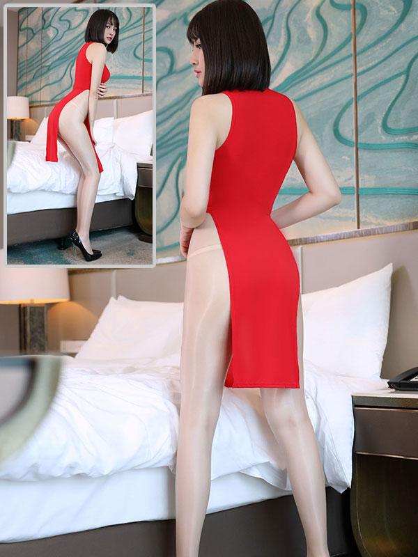 セクシー下着の通販商品:チャイナ風ロングスリット・Vカットセクシードレス・赤・イメージ写真4