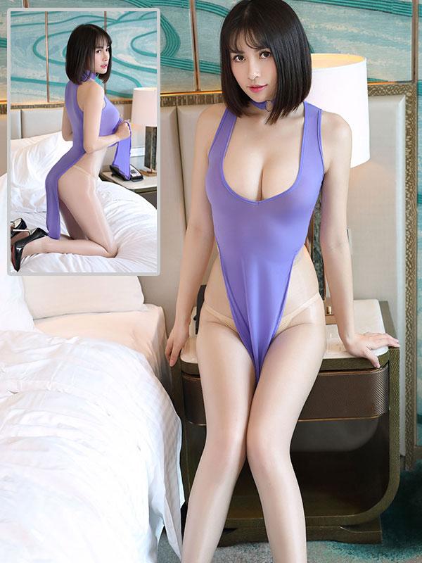 セクシー下着の通販商品:チャイナ風ロングスリット・Vカットセクシードレス・ラベンダー・イメージ写真3