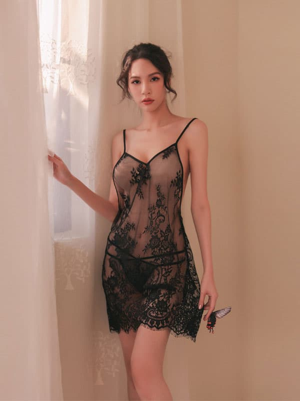 セクシー下着の通販商品:ゆったりエレガントなベビードール・黒・イメージ写真1