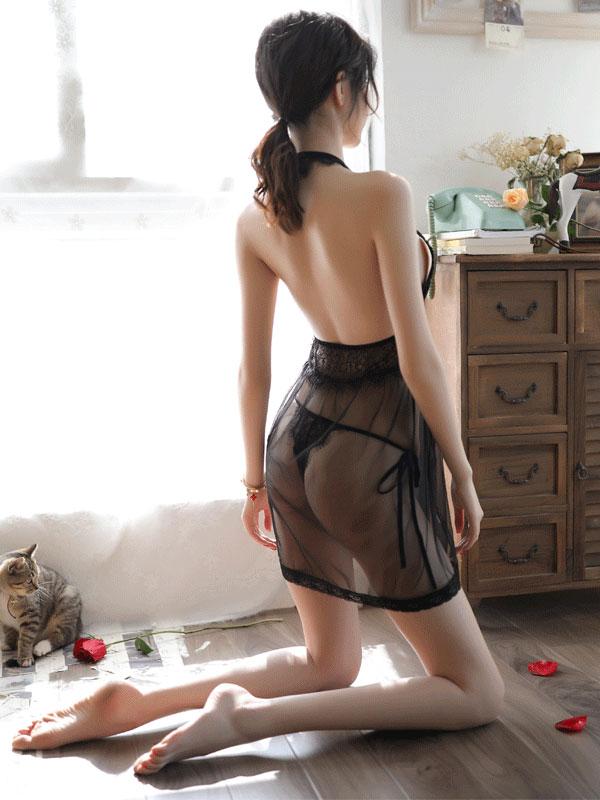 セクシー下着の通販商品:エキゾチック・シースルー・ベビードール・黒・イメージ写真3