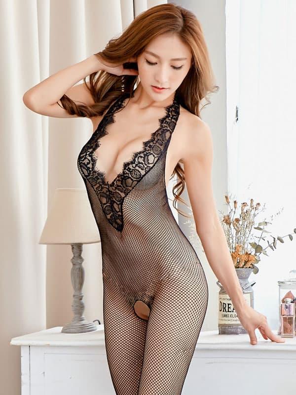 セクシー下着の通販商品:ホルターネック・メッシュ・ボディストッキング・黒・イメージ写真1