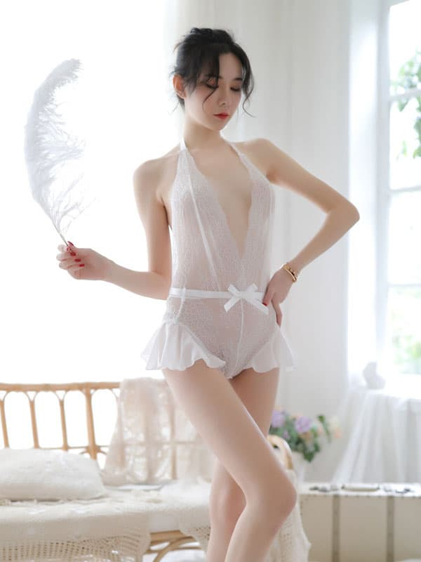 セクシー下着の通販商品:サイドフレアのオープンテディ・白・イメージ写真1