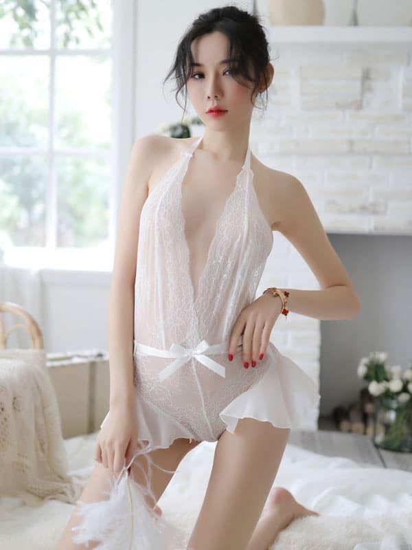 セクシー下着の通販商品:サイドフレアのオープンテディ・白・イメージ写真2