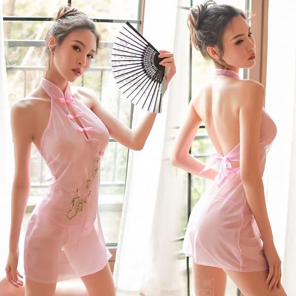 ノースリーブ・シースルー・チャイナドレス・ピンク