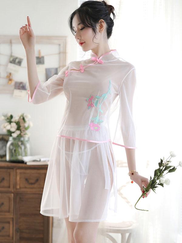 セクシー下着の通販商品:ツーピースのシースルーチャイナドレス・白・イメージ写真1