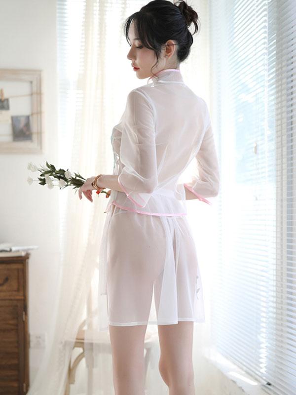 セクシー下着の通販商品:ツーピースのシースルーチャイナドレス・白・イメージ写真5