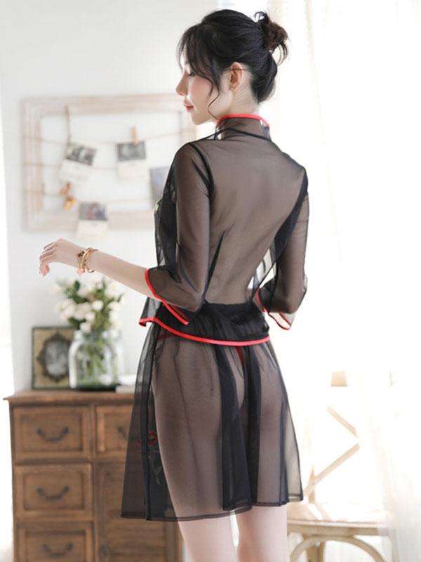 セクシー下着の通販商品:ツーピースのシースルーチャイナドレス・黒・イメージ写真4