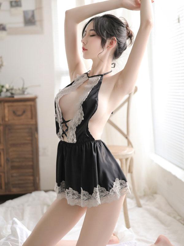 セクシー下着の通販商品:限界ギリギリ!セクシーショートドレス・黒・イメージ写真2