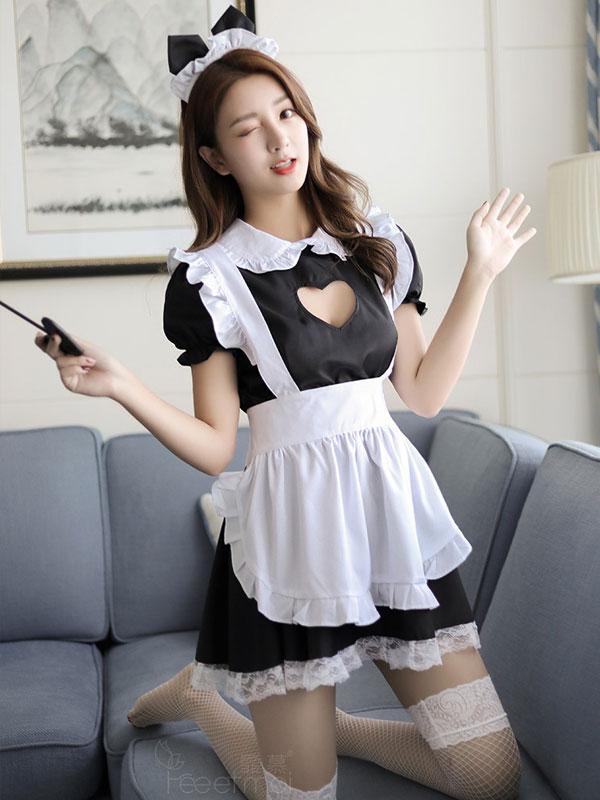 セクシー下着の通販商品:ハートオープン・猫耳メイドドレス・イメージ写真2