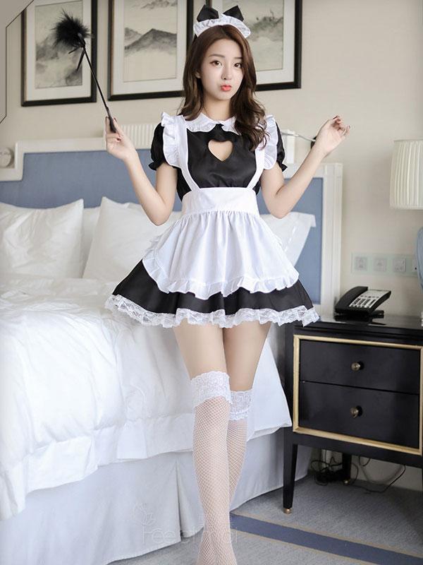 セクシー下着の通販商品:ハートオープン・猫耳メイドドレス・イメージ写真3