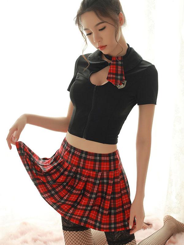 セクシー下着の通販商品:前開き・背中編み上げ・制服風ツーピースドレス・イメージ写真1