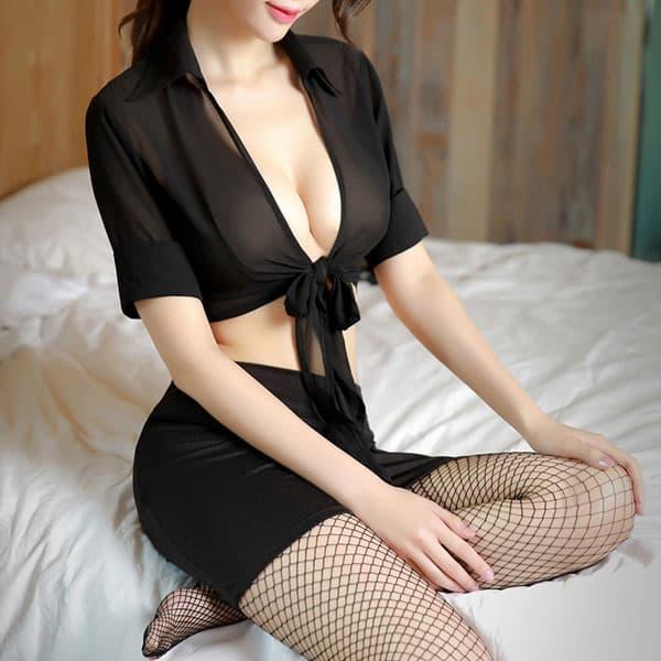 セクシー下着の通販商品:OL風・へそ出しセミシースルー・ツーピースドレス・黒・イメージ写真