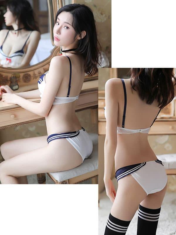 セクシー下着の通販商品:セーラー風・ブラ&ローライズショーツセット・イメージ写真3